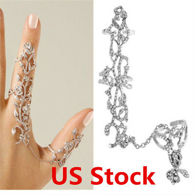 US Women Multiple Finger Stack Knuckle Band Crystal Ring Set Jewelry Beauty Gift