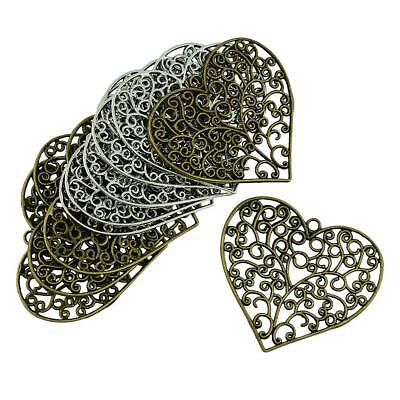 10pc 64x56mm Large Filigree Hollow Heart Charms Pendant DIY Jewelry Findings