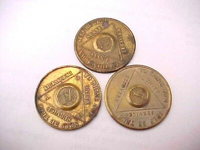 3 Vintage AA / Alcoholics Anonymous Coins Tokens 1 12 16 years