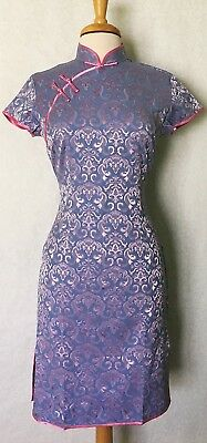 Short Sleeve Classic Chinese Cheongsam Qipao Summer Dress Blue with Pink Flowers
