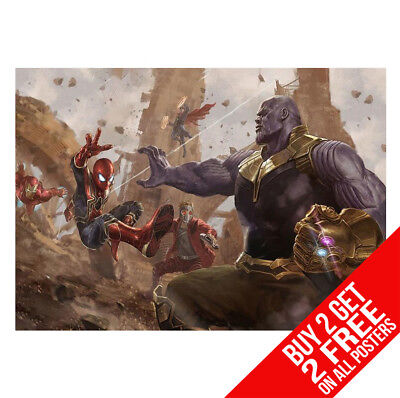 The Avengers Infinity War Poster Thanos V Spiderman Iron Man Print A4 / A3