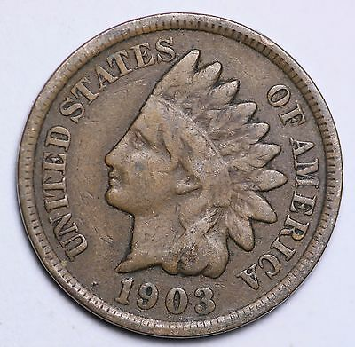 1903 Indian Head Cent Penny / Circulated Grade Good / Very Good 95% Copper Coin