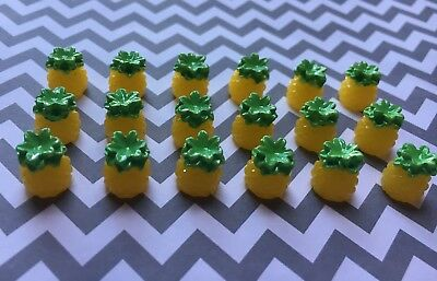 12pc Miniature Pineapple 3D resin Fruit, cabochon, charm, bow center, jewelry