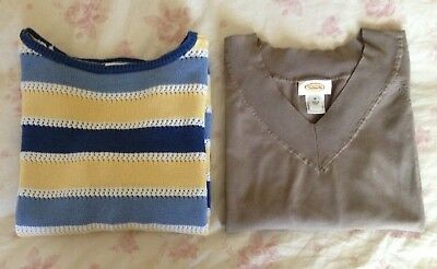 *REDUCED PRICE!* Lot Of 2 Talbots Sweaters Yellow Blue Brown Size M