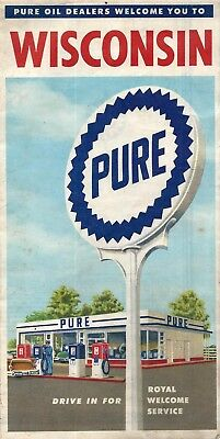 1950's Pure Oil Co. Service Station Highway Road Map of Wisconsin