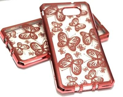 For Samsung Galaxy J7 V/Sky Pro/Prime 2017 Rose Gold Butterfly Silicone TPU Case