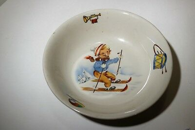 Vintage Royal Made in Columbia Childs Bowl w/ Little Boy Skiier