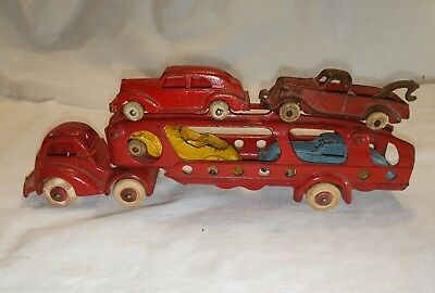 Vintage 1930's Hubley Cast Iron Red 4- Car Auto / Carrier Transport