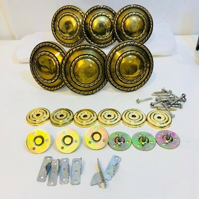 Set of 6 Vintage Brass Tone Curtain Tie Backs Holders Round & Hardware Matching