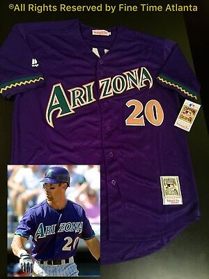 "f67cfa08 RARE""LUGO"" Luis Gonzalez Arizona Diamondbacks 2001-02 Purple Cactus Retro  Jersey"