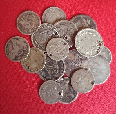 Old Early US Silver CULL Coins Seated Liberty Dimes / 90% silver 1 COIN