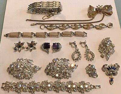Beautiful Lot of 12 Vintage CORO Jewelry Pieces Bracelets Brooches Pins Earrings
