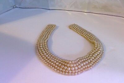 "1940s Vintage Made in Japan Pearl Studded Collar by Miranda 15"" long x 1"" wide"