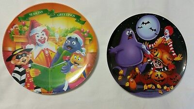 """McDonalds 1995 Christmas Holiday,  2000 Halloween 9"""" Collectible Plate Preowned"""