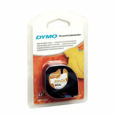 Dymo 18771  LetraTag Label Tape 12mm x 2m White Iron On for Fabric Each Genuine