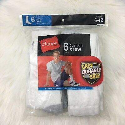 Hanes Men's Cushion Crew Socks 6 Pack Grey Durable Sole New In Sealed Bag