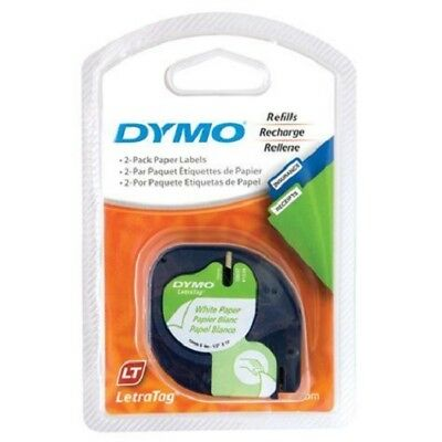 2 x Genuine Dymo Letratag Tape Paper on White Label 12mm x 4m SD92630 Twin Packs