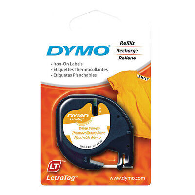 2 x  Dymo 18771 LetraTag Label Tape 12mm x 2m White Iron On for Fabric Genuine