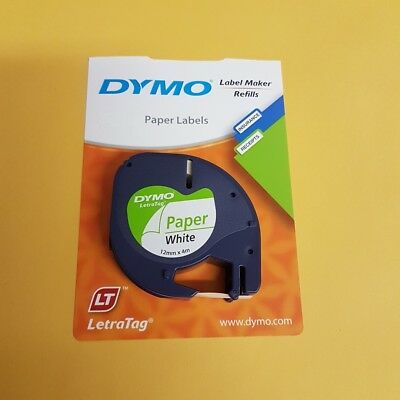 Genuine Dymo Letratag Labeling Tape Paper on White Label 12mm x 4m SD92630  Each