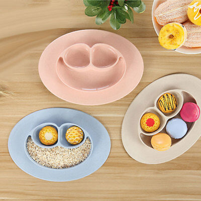 Ellipse Silicone Feeding Food Plate Tray Dishes Food Holder for Baby Toddler Kid