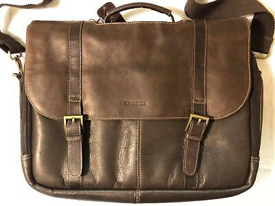 93c1167f5bf2 SAMSONITE FLAPOVER BRIEFCASE 4312 Leather Messenger Computer Laptop ...