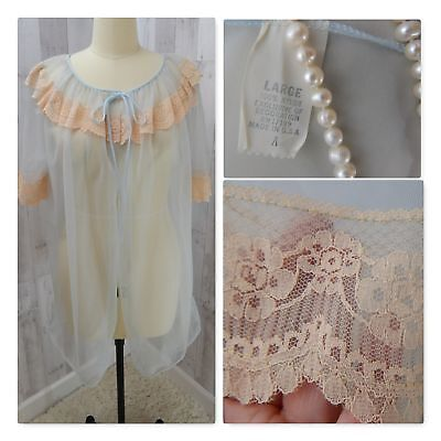 1960s Vintage ROBE/NIGHTGOWN NEGLIGEE LINGERIE Ice Blue Lace Babydoll