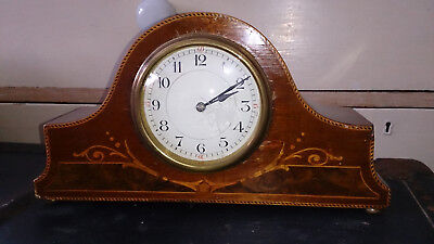 Antique French Napoleon Hat Mantle Clock Burl Wood Marquetry
