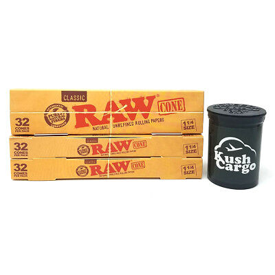RAW Classic Unrefined Pre-Rolled Cone 32 Pack 1 1/4 (4 Packs - 128 Cones)
