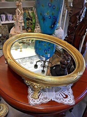 Large Oval Gold Footed Mirrored Tray: Dressing table/ coffee table / console