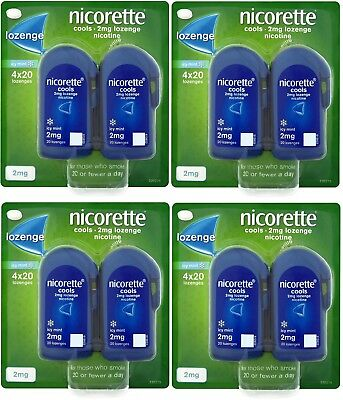 4 x 80 = 320 Nicorette Cools 2mg Nicotine Lozenges Icy Mint - (Exp Date 10/2020)