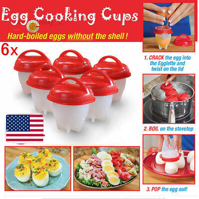 Eggies Egg Cooker Hard Boiled Eggs without the Shell 6 Eggies Egg Cups Red