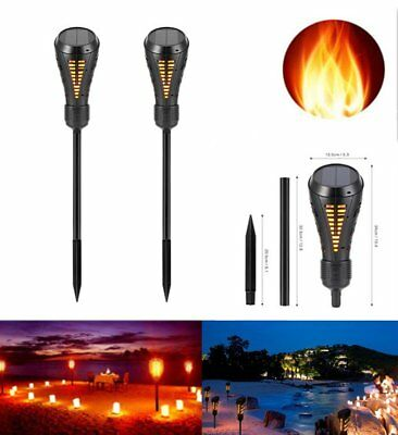 Solar Powered 135 LED Light Torch Flicker Outdoor Dancing Flame Lamp  Waterproof