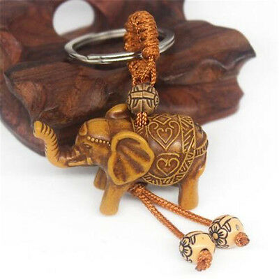 Lucky Elephant Carving Wooden Pendant Keychain Key Ring Chain Evil Defends Gift♫