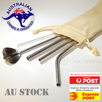 Stainless Steel Reusable Metal Drinking Straw 4 Eco Friendly Straws Variety Pack
