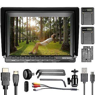 """NW759 7"""" 1280x800 IPS Screen Camera Monitor with 2 Pieces USB Battery Charger"""