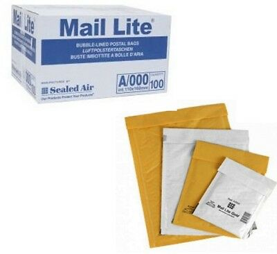 100 x Mail Lite A/000 110x160 mm / 11x16cm White/Gold Padded Envelope Packaging