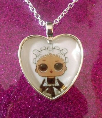 Silver Plated Heart Pendant Necklace LOL Doll Surprise Fresh