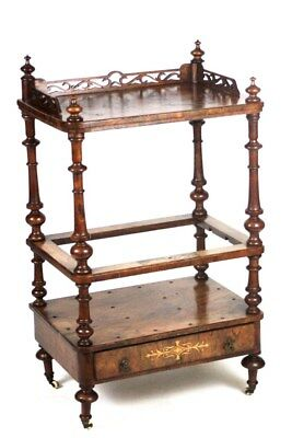 Antique Victorian Walnut Drink Serving Table Bar Cart - FREE Shipping [PL4326]