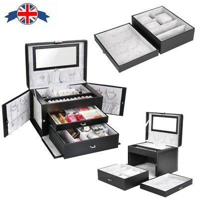 PU JEWELRY Box Case Ring Earring Necklace Mirror Storage Display
