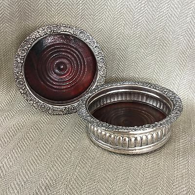 Antique Wine Bottle Coasters Stand Wood & Silver Plated Pair