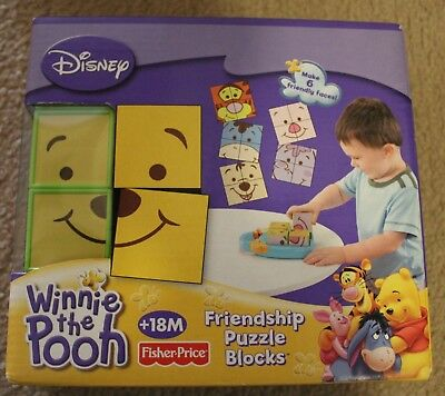 Fisher Price WINNIE POOH Baby Friends Puzzle Block Stack Toy NEW