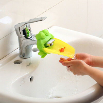 Cute Frog Water Faucet Extender Kids Easy Hand Washing Sink Kitchen Bath Tools
