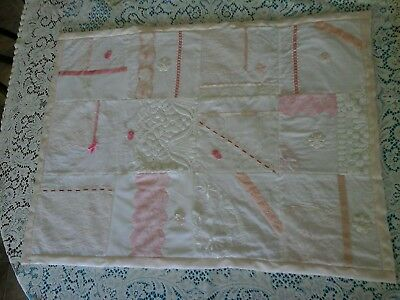 Vintage Pink - White Lace Handmade Quilt Throw Material Patchwork Sewing Fabric