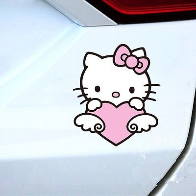1pcs Pink /Red Color Angel Heart Cute Bow Hello Kitty Car Decal Sticker New Girl