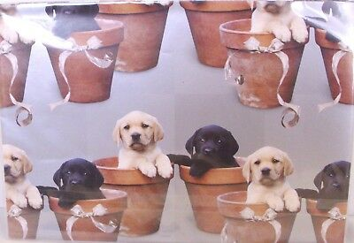 """""""CUTE PUPPIES IN PLANTPOT"""" Gift Wrap Sheets And Tags x 2"""
