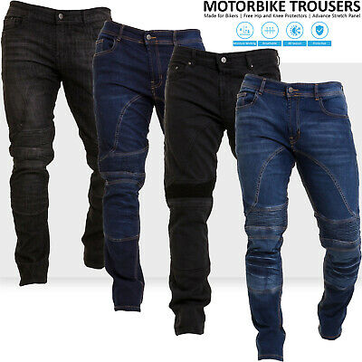 Mens Motorcycle Jeans Motorbike Pants Denim Trousers Aramid Protective Lining