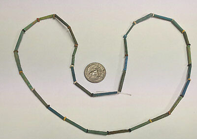 RESTRUNG 2500 Year old Ancient Egyptian Faience Mummy Bead Necklace (#G5704)