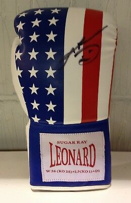 Sugar Ray Leonard hand signed boxing glove world champion RARE COA