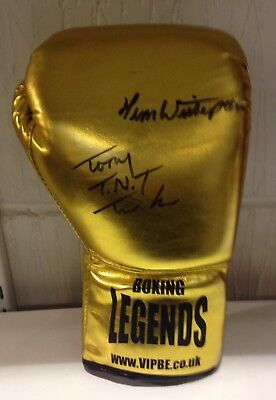 Tony Tucker & Tim Witherspoon dual signed boxing glove RARE COA