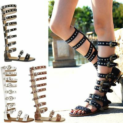 Womens Ladies Flat Knee High Strappy Sandals Western Gladiator Summer Shoes Size